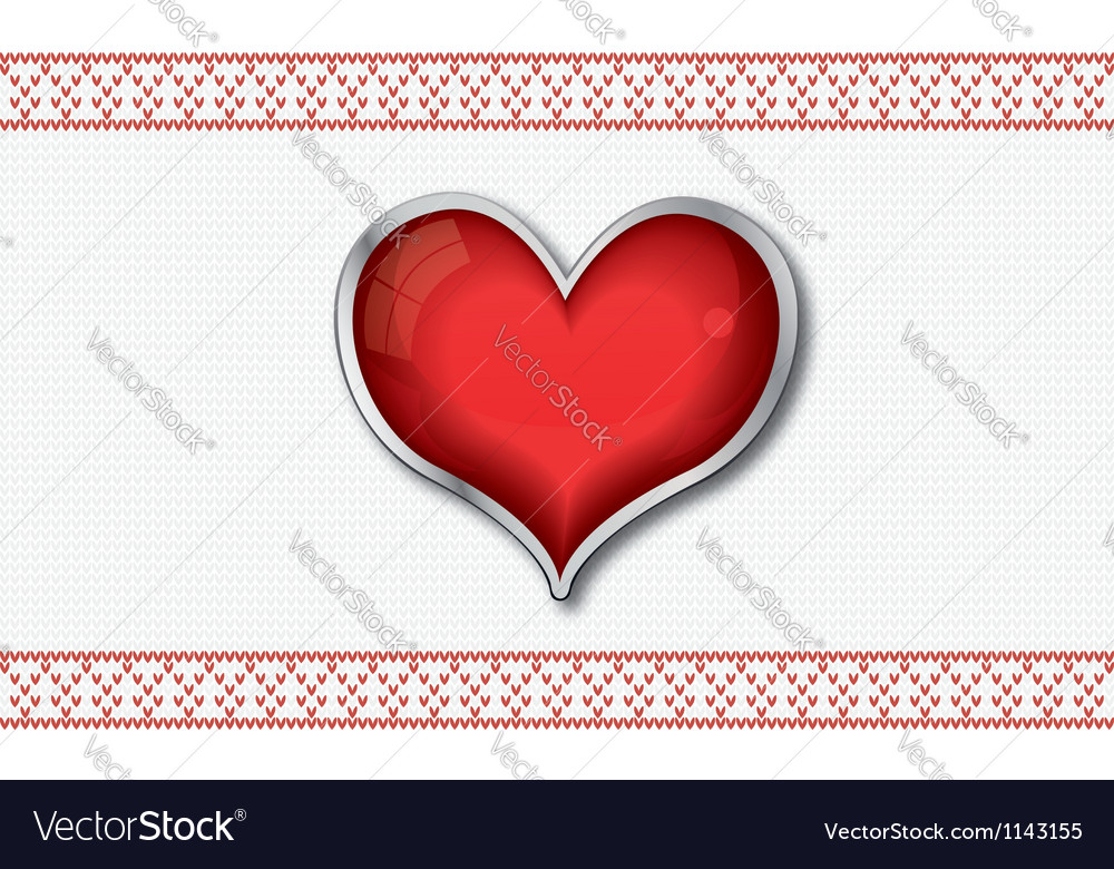 Valentine card with red glossy heart vector | Price: 1 Credit (USD $1)