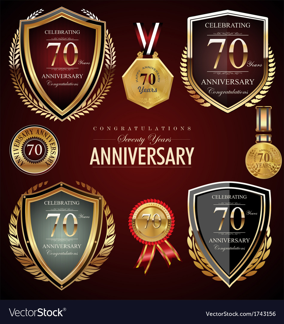 70 years anniversary labels vector | Price: 1 Credit (USD $1)
