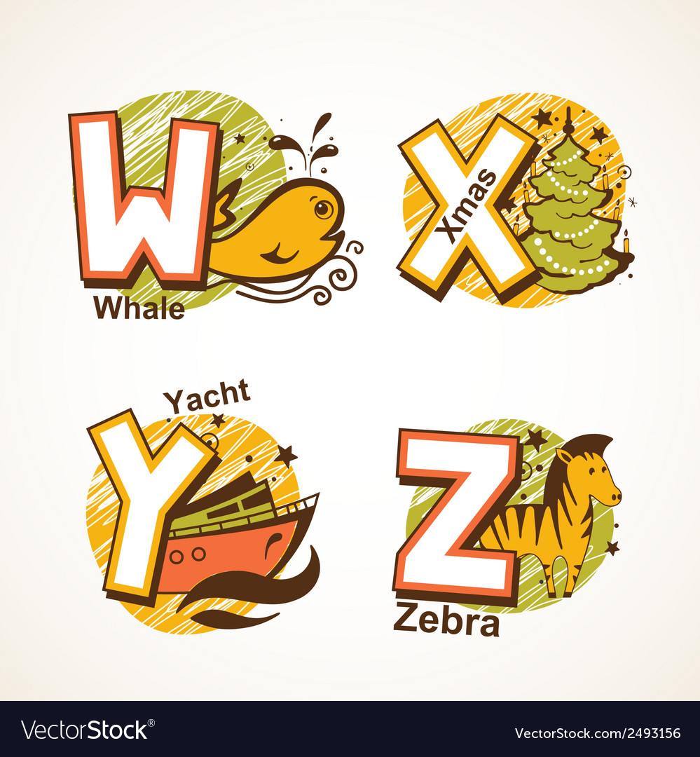 Alphabet set from w to z vector | Price: 1 Credit (USD $1)