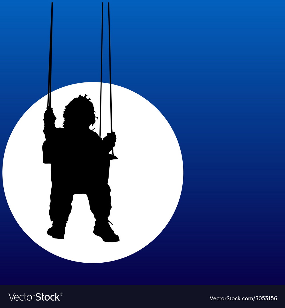 Baby swings on a swing in the moonlight vector | Price: 1 Credit (USD $1)
