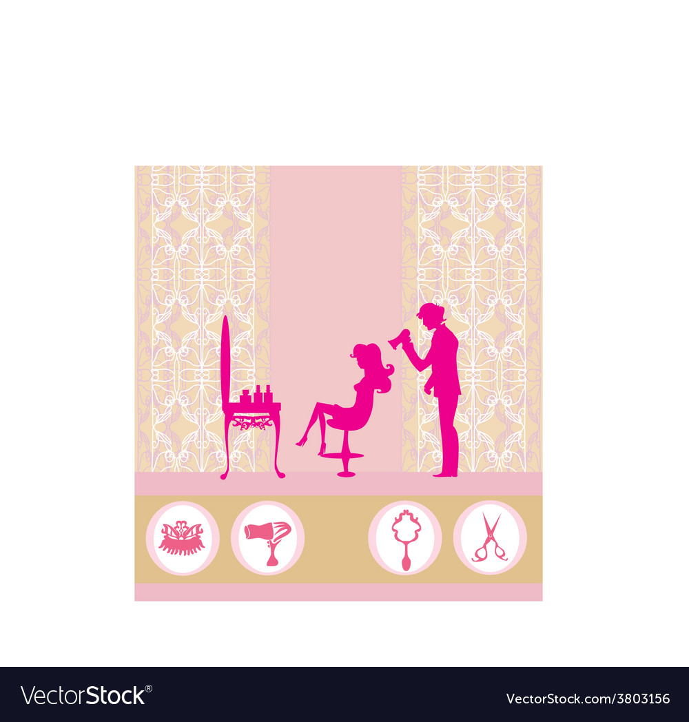 Beautiful woman silhouette in barber shop vector | Price: 1 Credit (USD $1)