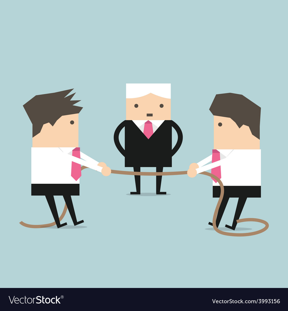 Businessman pulling rope tug of war in business vector | Price: 1 Credit (USD $1)