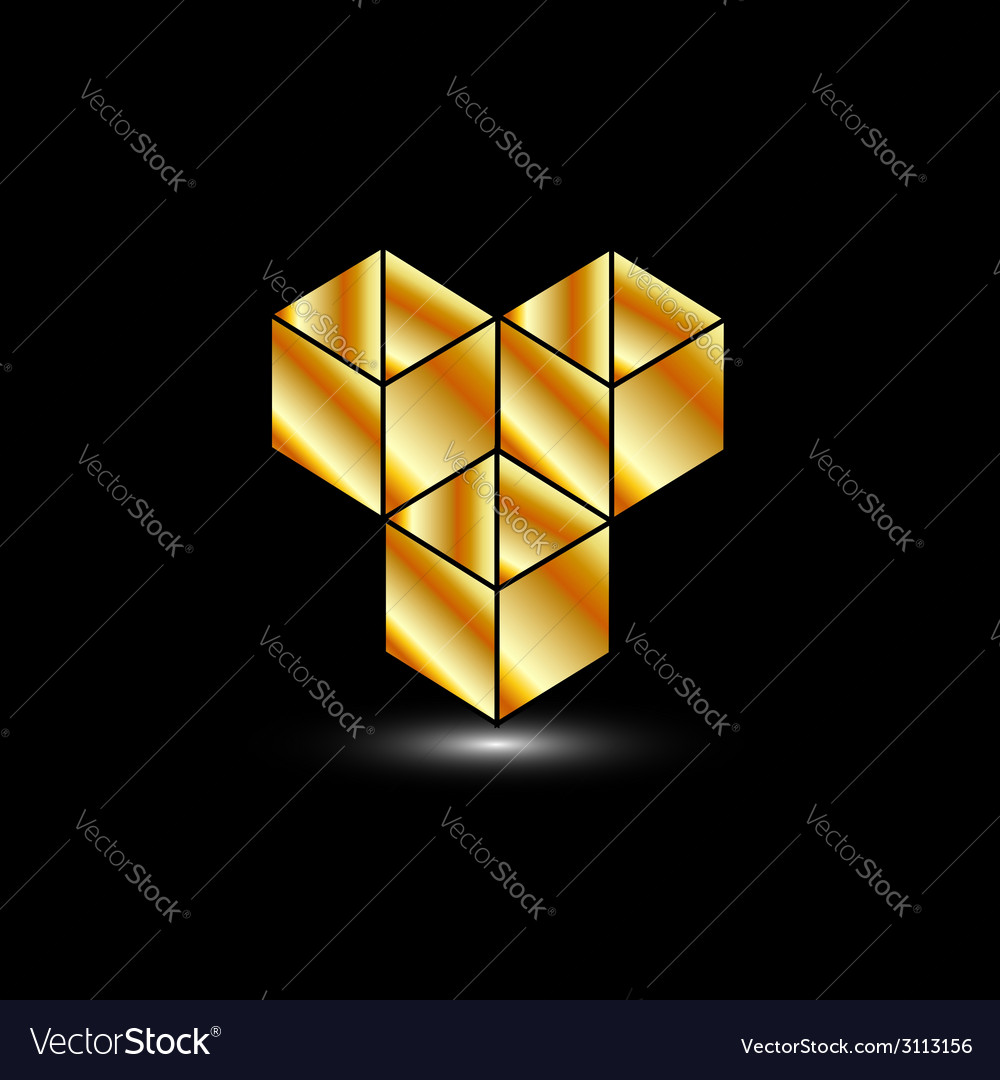 Golden boxes- logo for architect or construction vector | Price: 1 Credit (USD $1)