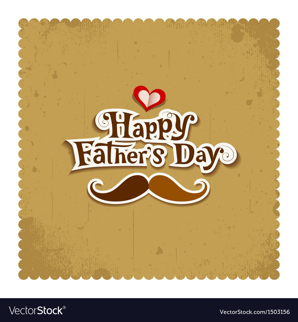 Happy father day vintage greeting card vector | Price: 1 Credit (USD $1)