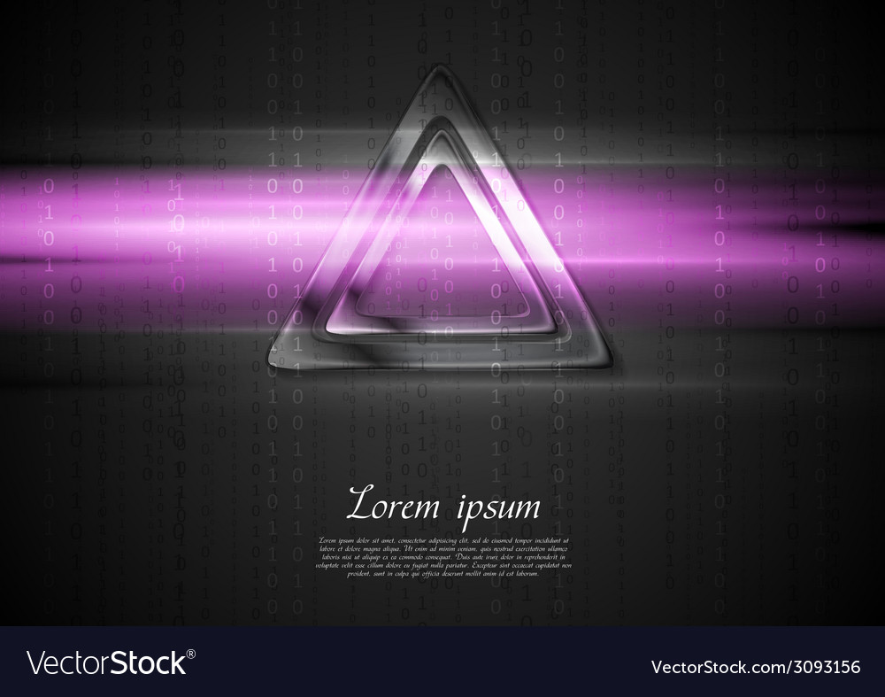 Metal triangle and purple shiny light design vector | Price: 1 Credit (USD $1)