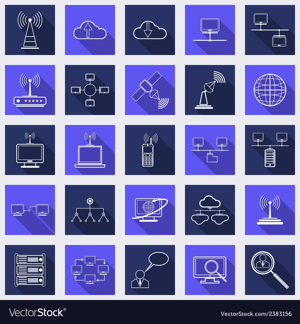 Network flat web icons vector | Price: 1 Credit (USD $1)