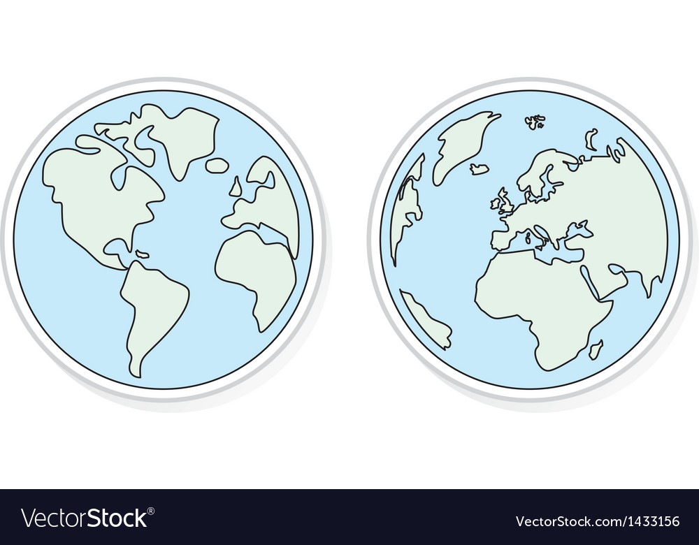 Planet earth flat design elements eco icons vector | Price: 1 Credit (USD $1)