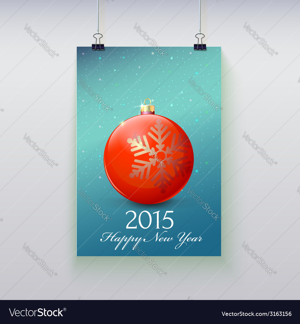 Poster with a christmas ball on it vector | Price: 1 Credit (USD $1)