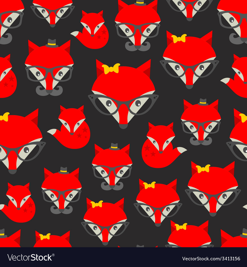 Seamless pattern with hipster fox vector   Price: 1 Credit (USD $1)
