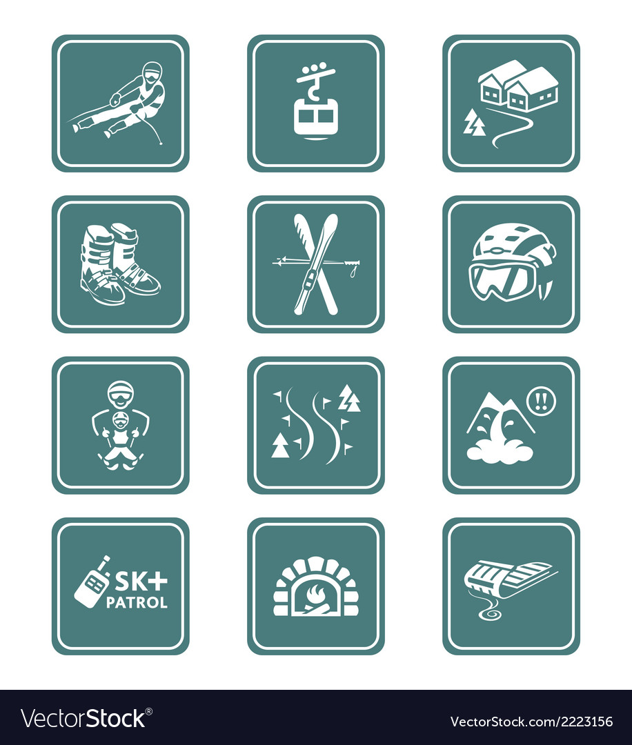 Skiing resort icons  teal series vector