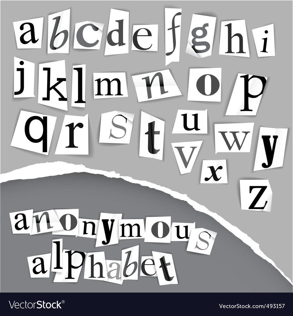 Anonymous alphabet made from newspapers vector | Price: 1 Credit (USD $1)