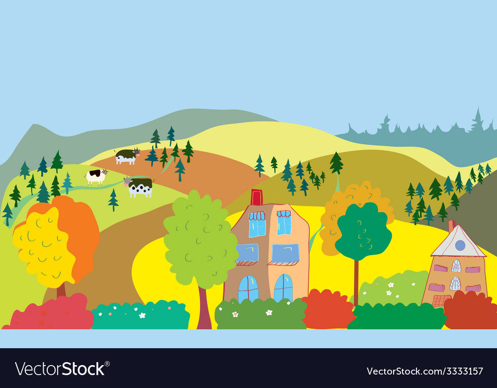 Autumn countryside landscape with trees houses vector | Price: 1 Credit (USD $1)