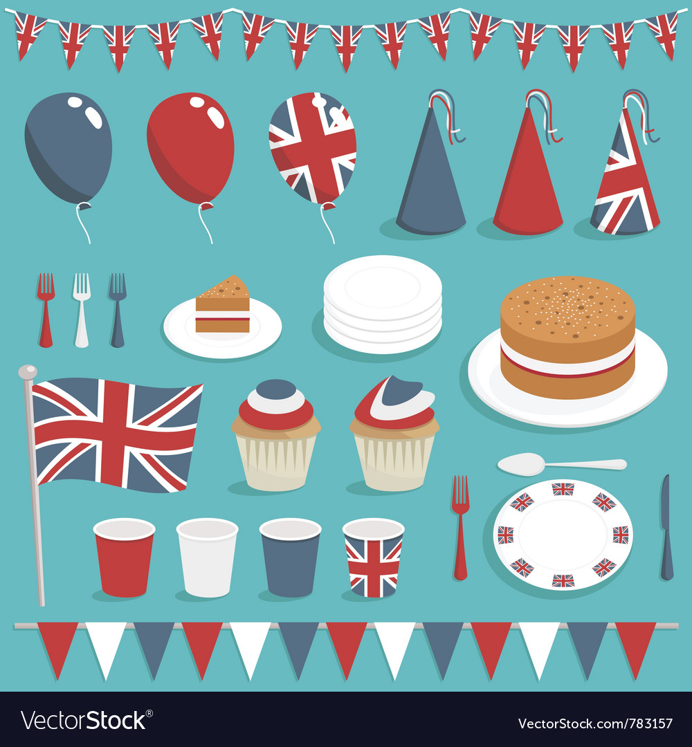 British party set vector | Price: 1 Credit (USD $1)