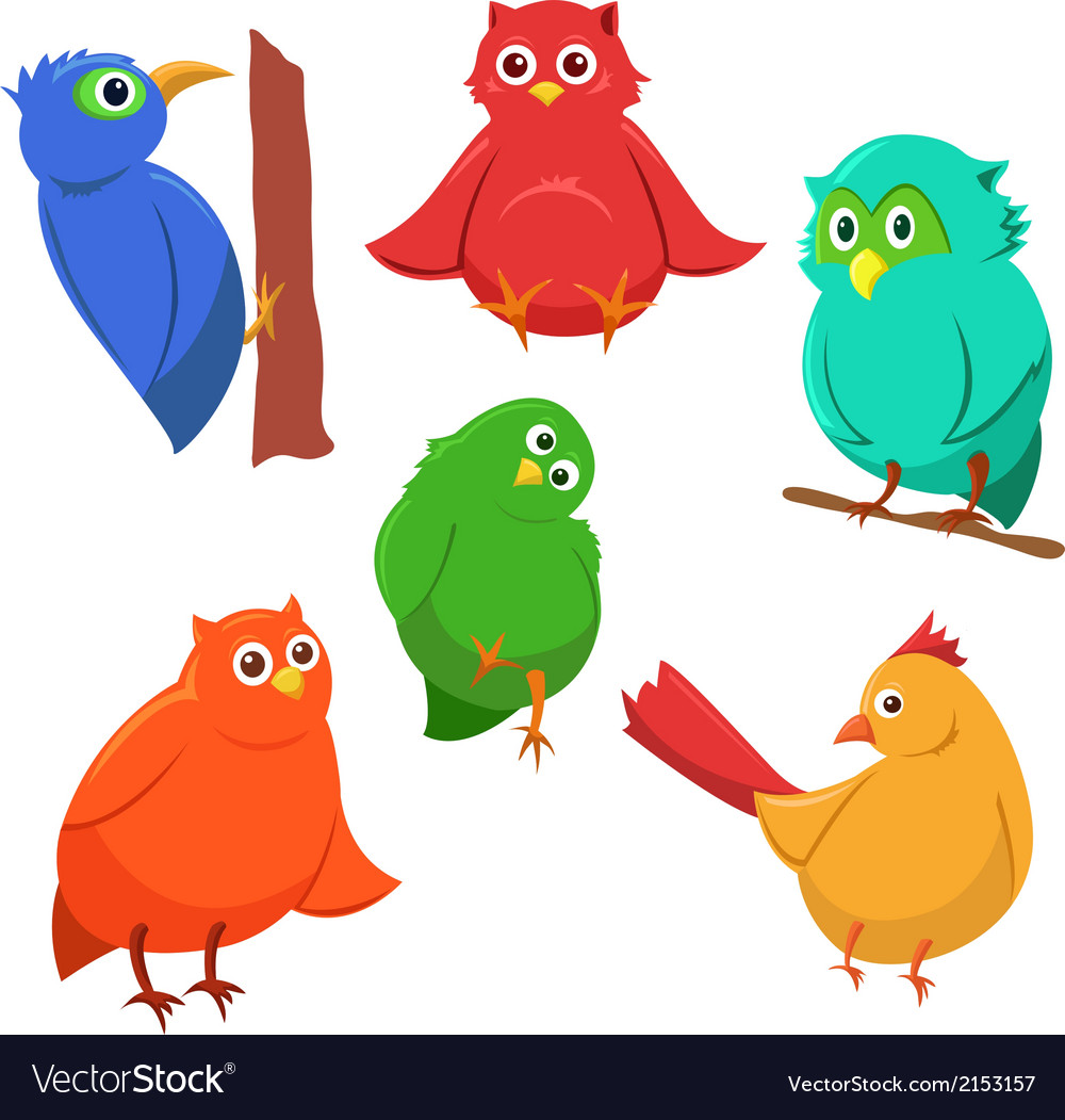 Cartoon set of colorful cute funny birds vector | Price: 1 Credit (USD $1)