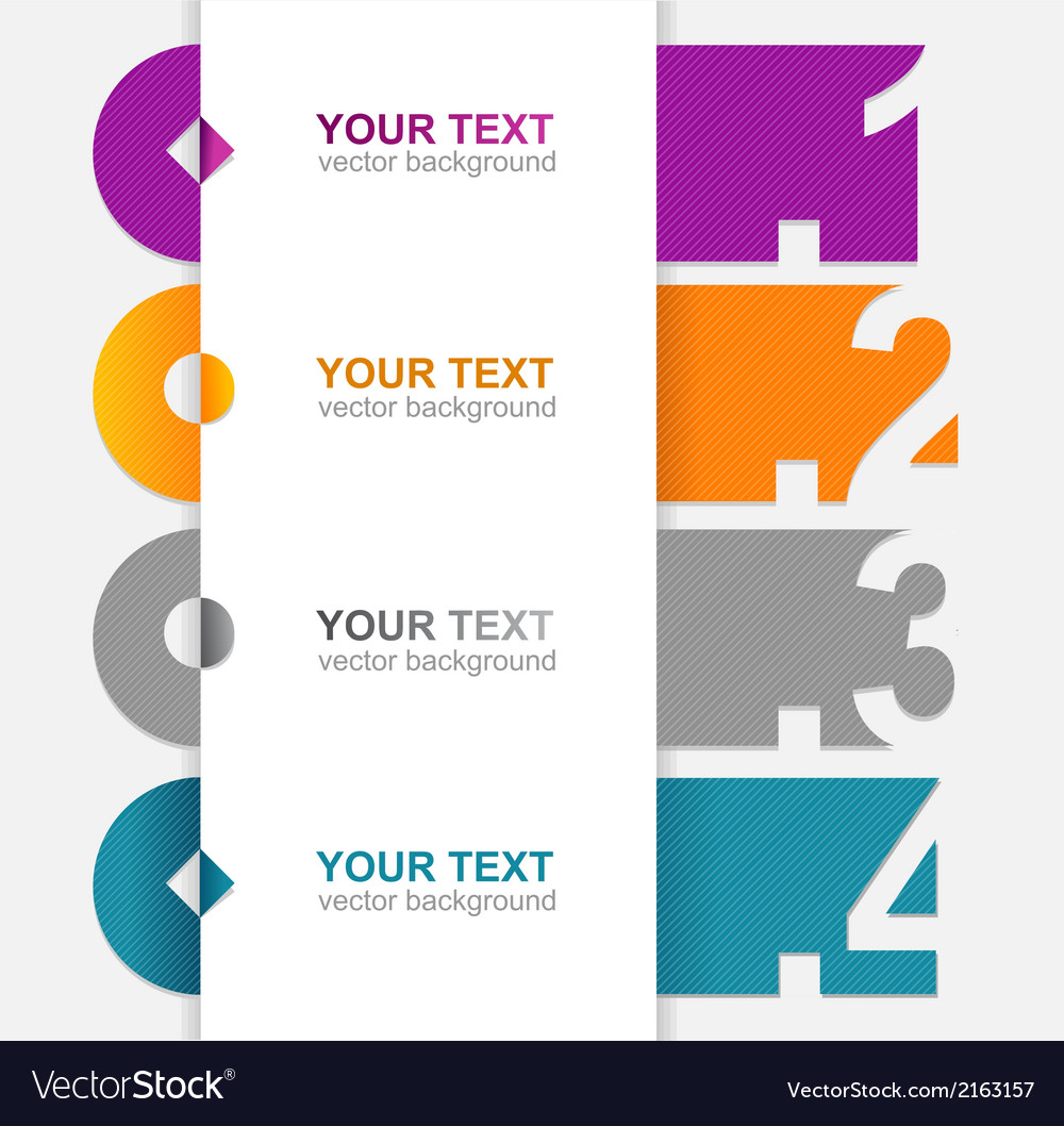 Colorful text boxes 1 2 3 4 vector | Price: 1 Credit (USD $1)