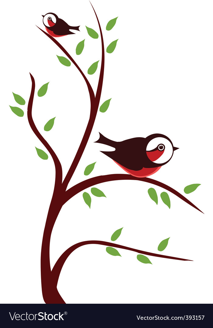 Cute birds on tree vector | Price: 1 Credit (USD $1)