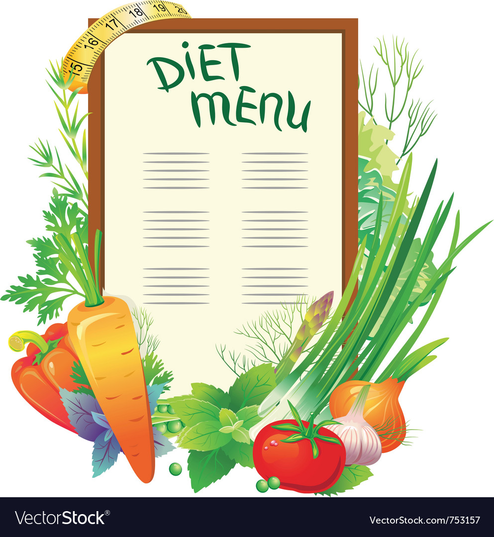 Diet menu with a group of vegetables vector | Price: 3 Credit (USD $3)