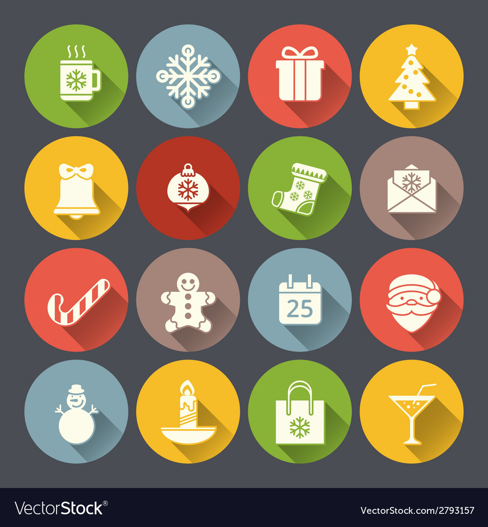Flat christmas icons for web and applications vector | Price: 1 Credit (USD $1)