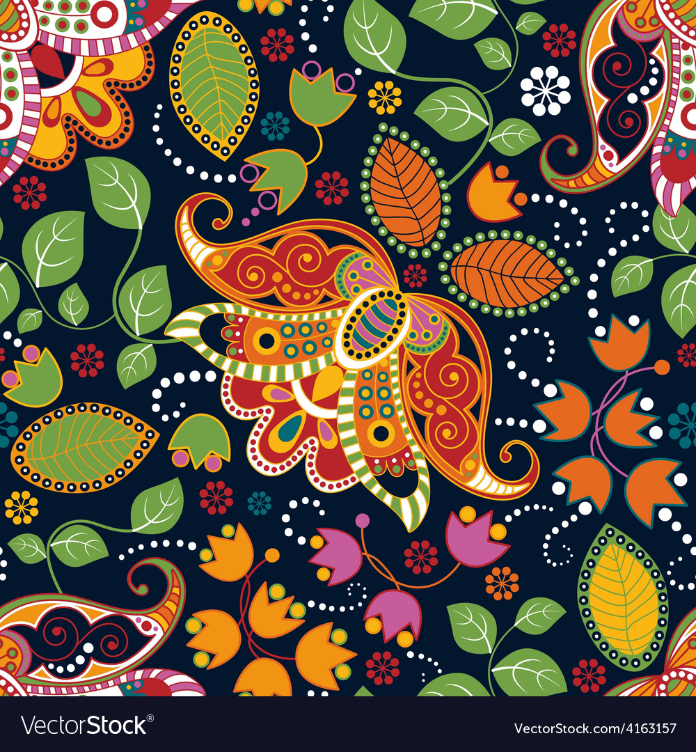 Floral seamless pattern summer flowers wallpaper vector | Price: 1 Credit (USD $1)