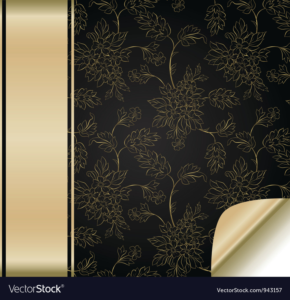 Flower background with golden band vector | Price: 1 Credit (USD $1)