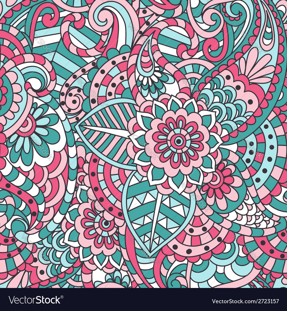 Indian floral seamless pattern vector | Price: 1 Credit (USD $1)
