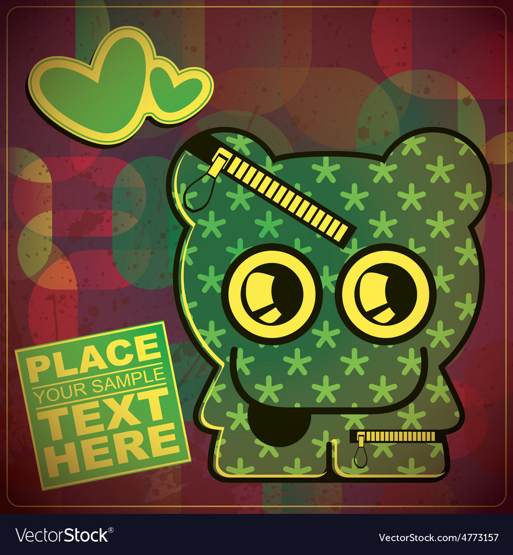 Monster with heart on grunge color background vector | Price: 1 Credit (USD $1)