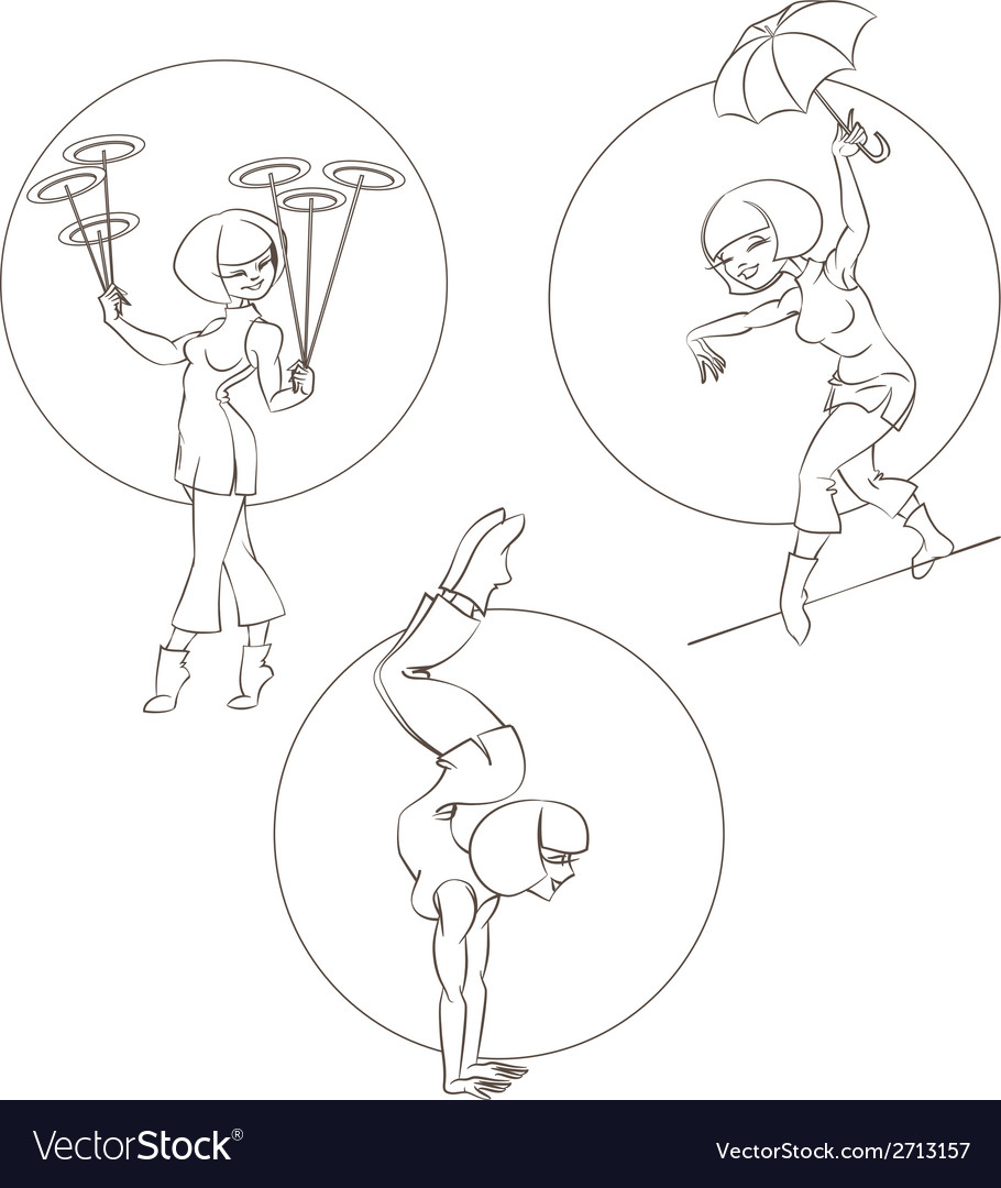 Pin-up young woman perform chinese circus stunt vector | Price: 1 Credit (USD $1)