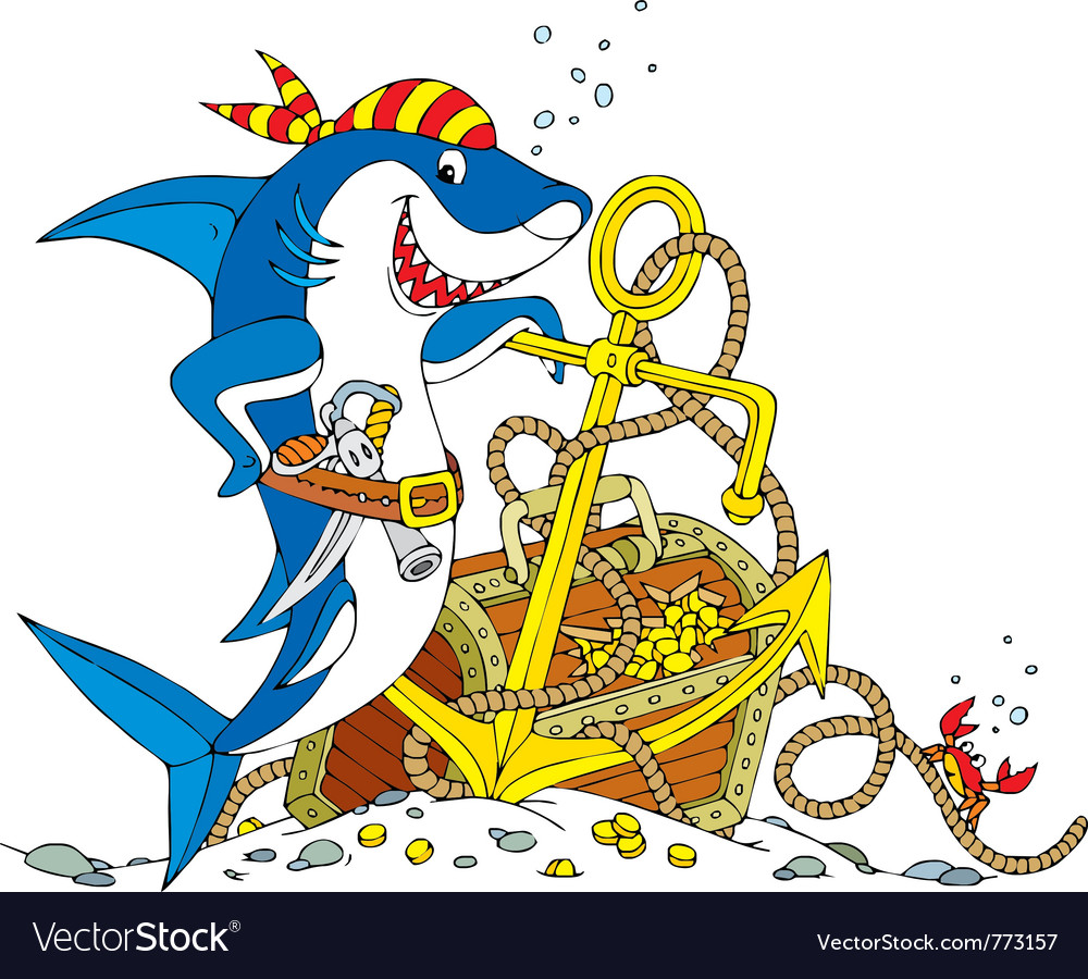 Pirate shark vector | Price: 3 Credit (USD $3)