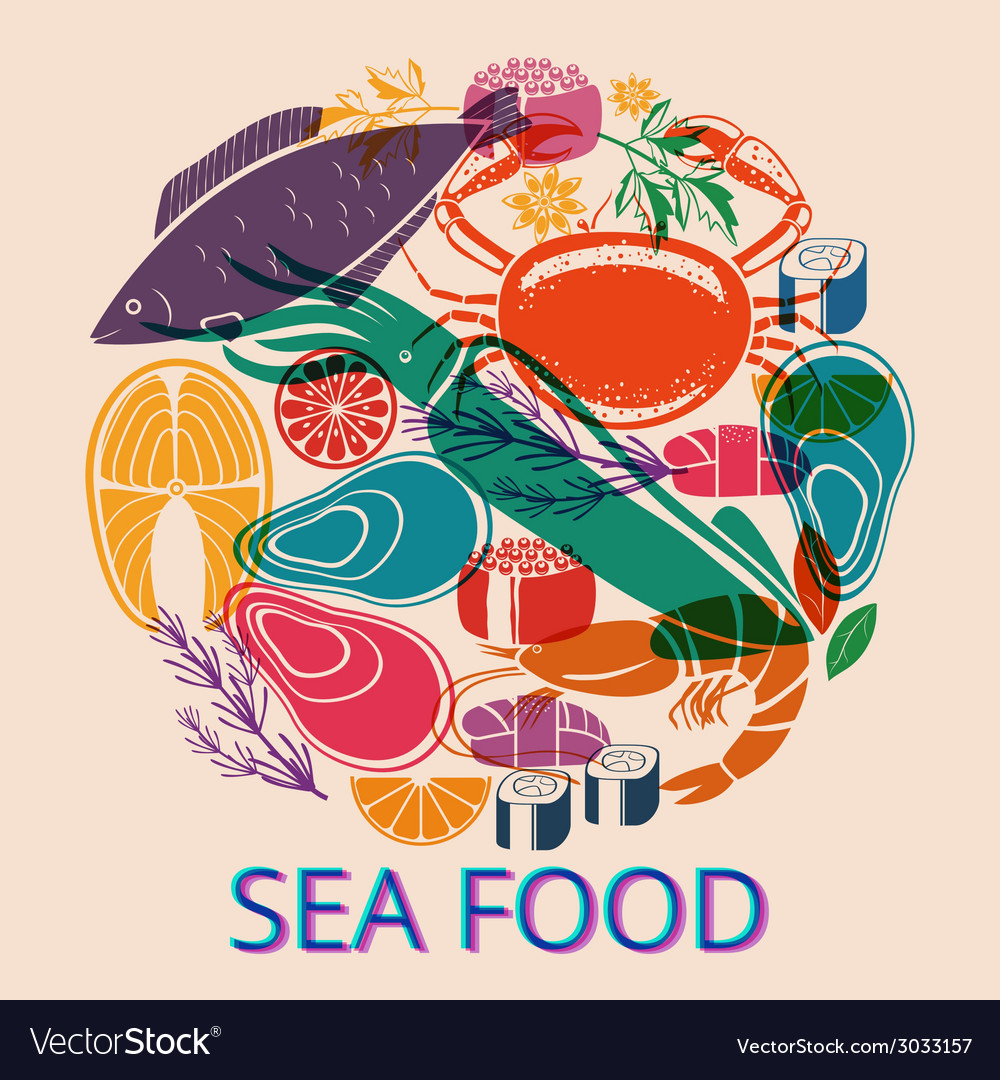 Seafood graphic with various fish and shellfish vector | Price: 1 Credit (USD $1)