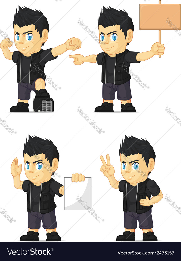Spiky rocker boy customizable mascot 15 vector | Price: 1 Credit (USD $1)