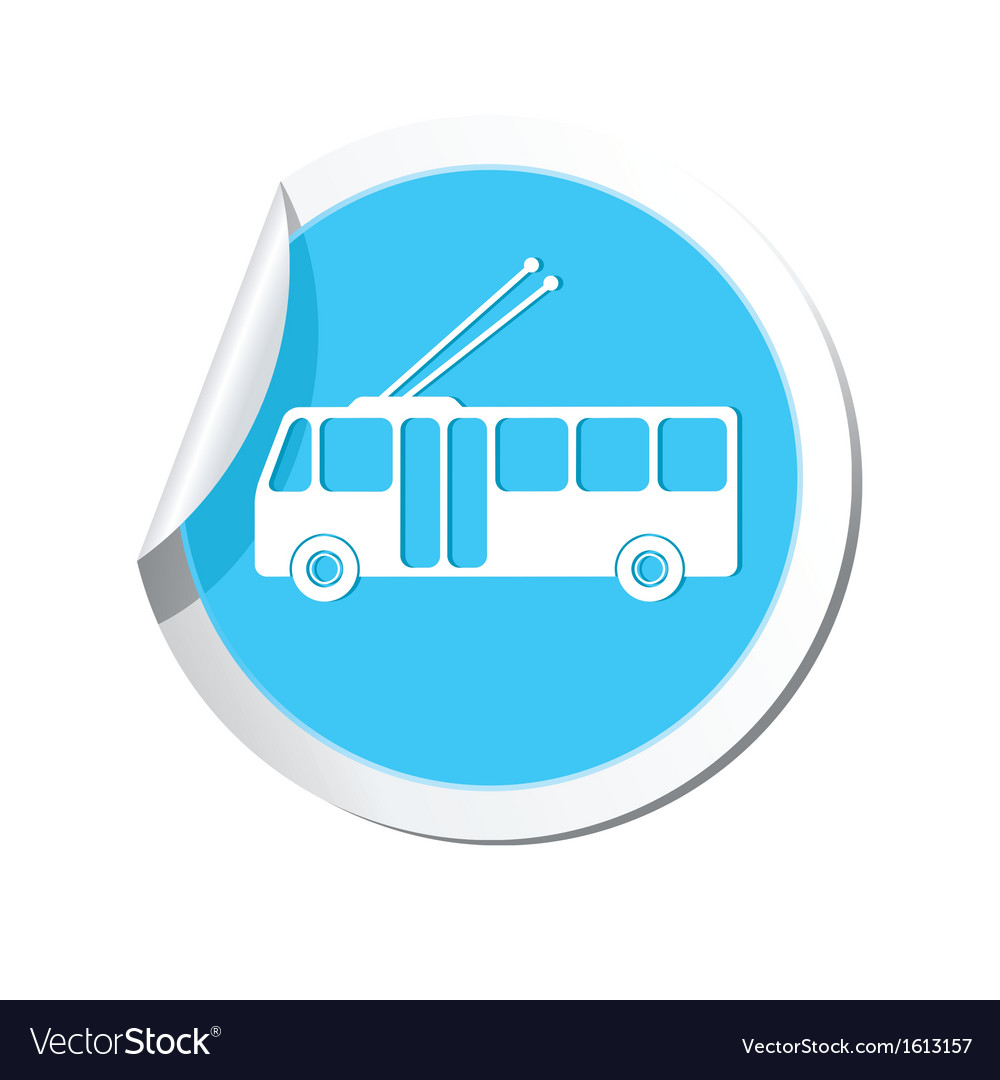 Trolleybus icon round blue copy vector | Price: 1 Credit (USD $1)