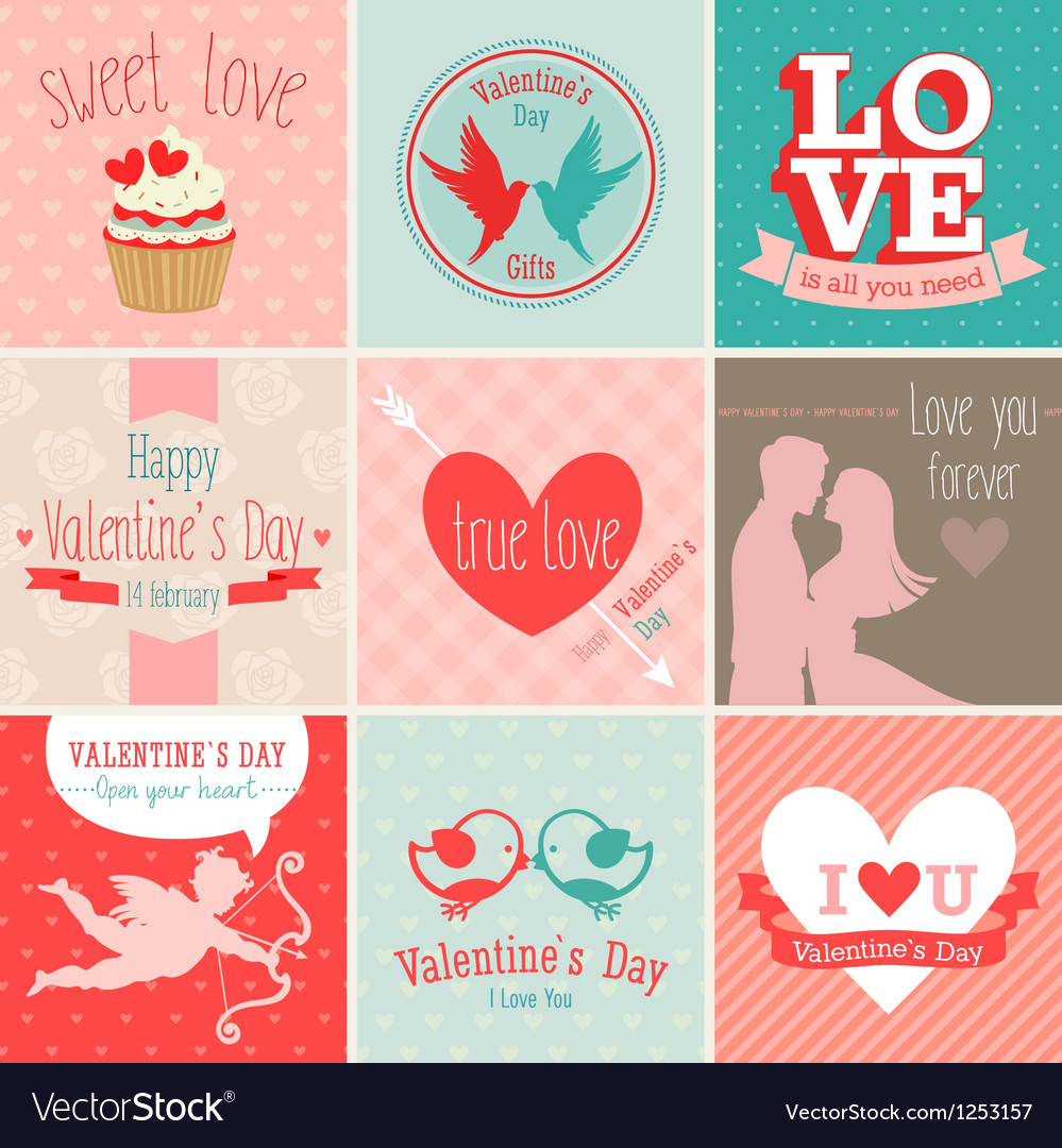 Valentines card set vector | Price: 3 Credit (USD $3)