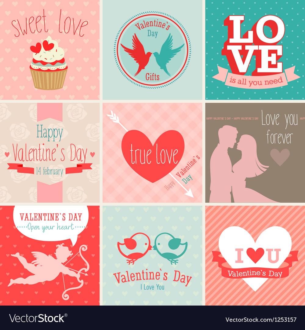 Valentines card set vector | Price: 3 Credit (USD $3)