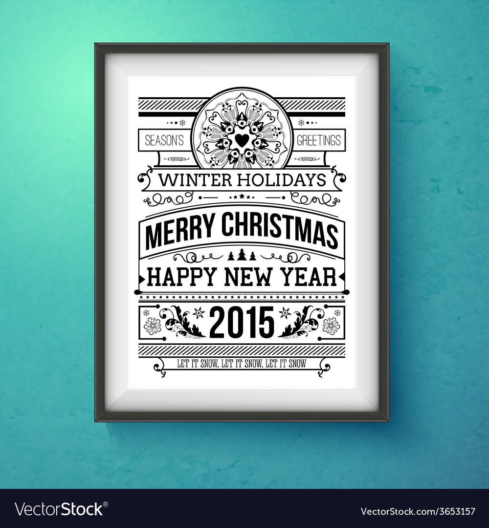 Vintage christmas design realistic frame on the vector | Price: 1 Credit (USD $1)
