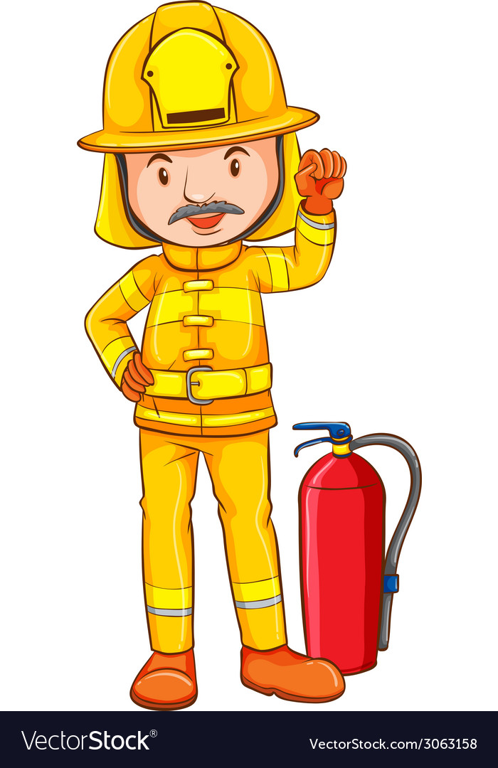 A coloured drawing of a fireman vector | Price: 1 Credit (USD $1)