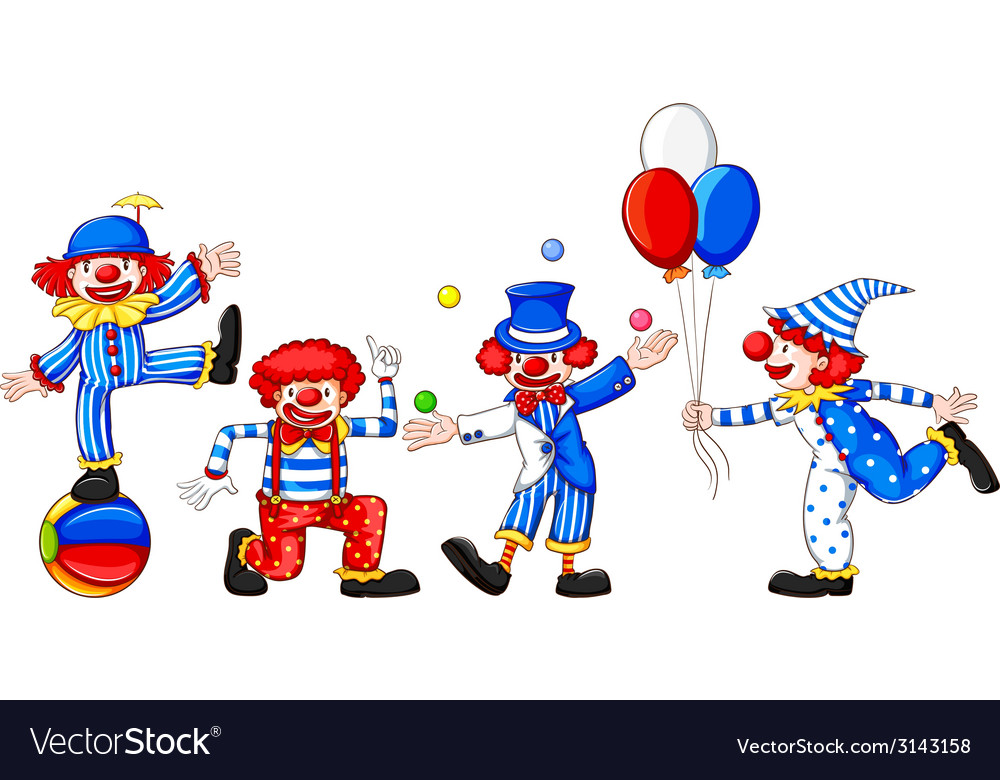 A sketch of a group of clowns vector | Price: 1 Credit (USD $1)