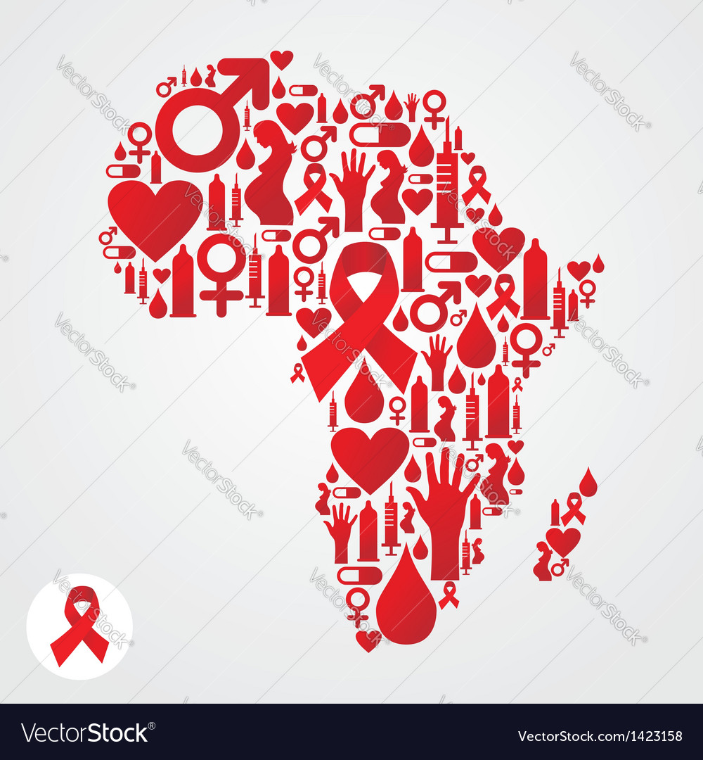 Africa aids map vector | Price: 1 Credit (USD $1)