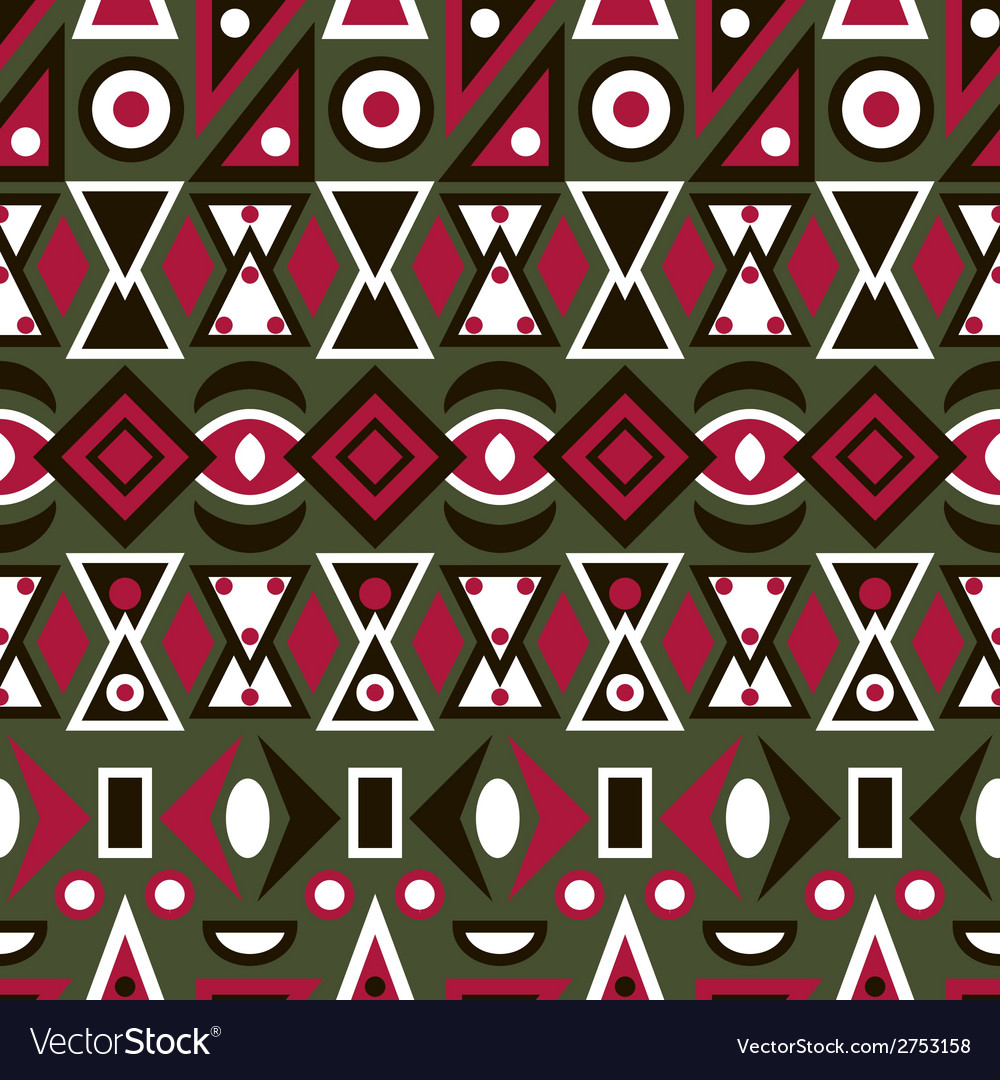 Folk ornamental textile seamless pattern on green vector | Price: 1 Credit (USD $1)