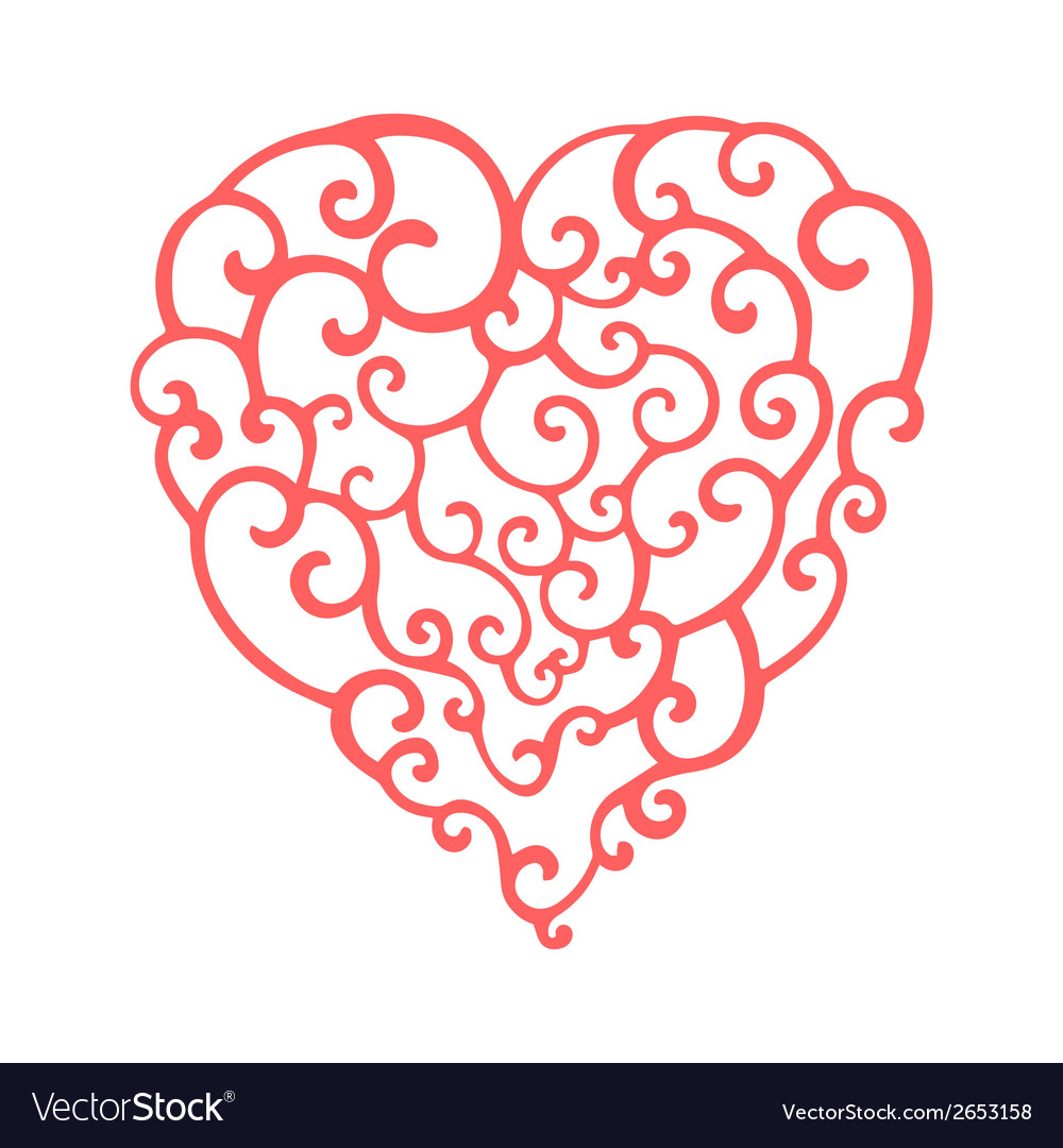 Hand drawn curly doodle heart template for your vector | Price: 1 Credit (USD $1)