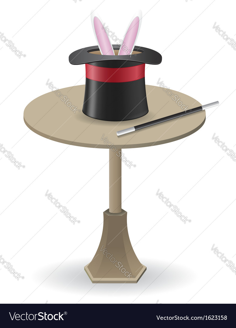 Magic wand and cylinder hat on the table vector   Price: 1 Credit (USD $1)