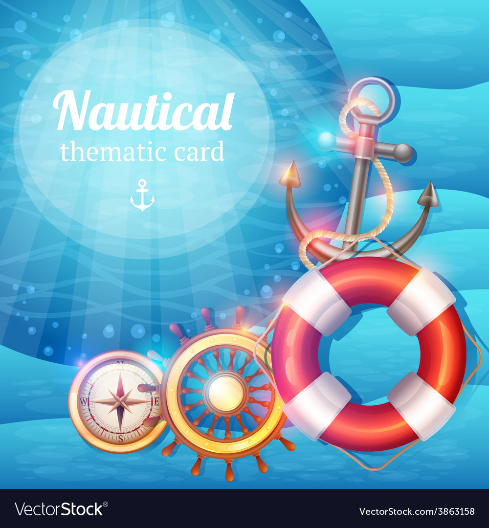 Marine symbols background vector | Price: 1 Credit (USD $1)