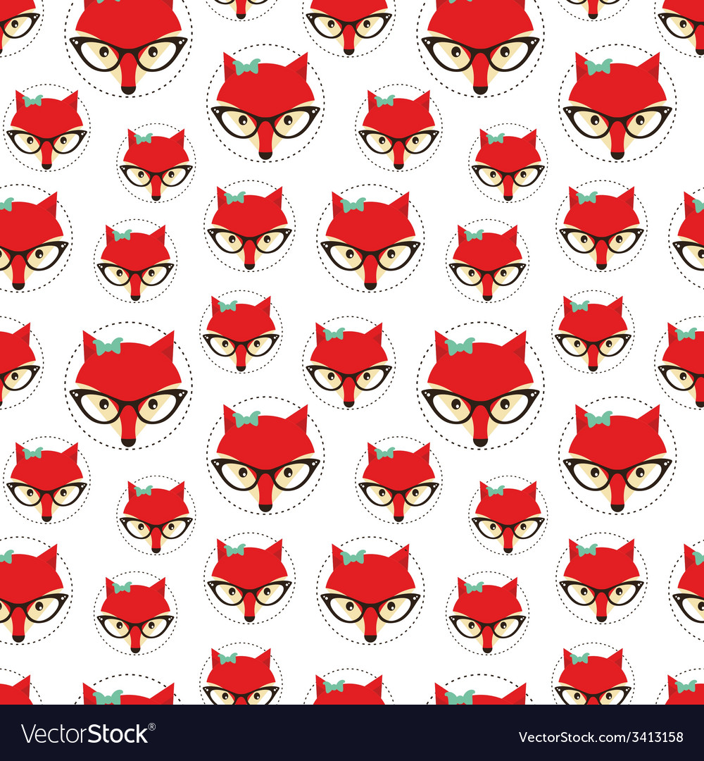 Seamless pattern with cute fox vector | Price: 1 Credit (USD $1)