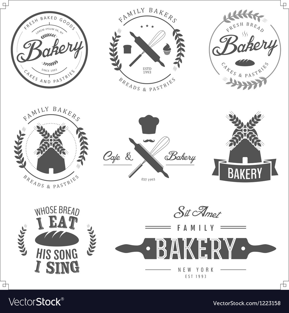 Set of bakery labels badges and design elements vector | Price: 1 Credit (USD $1)