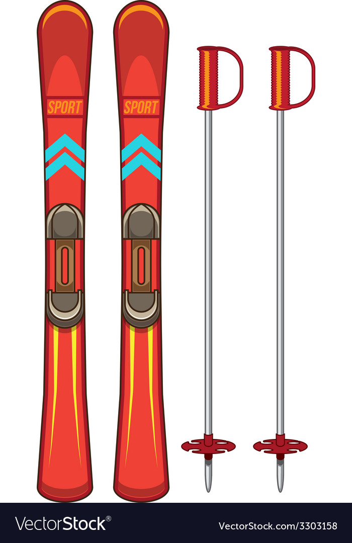 Ski and sticks vector | Price: 1 Credit (USD $1)
