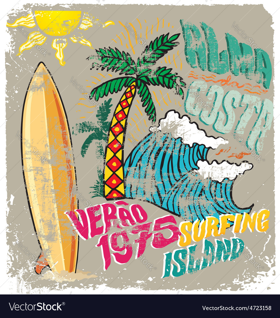Surfing island crack vector | Price: 1 Credit (USD $1)