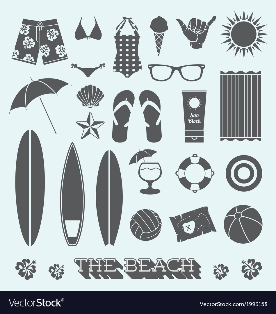 Under the sun beach icons vector | Price: 1 Credit (USD $1)