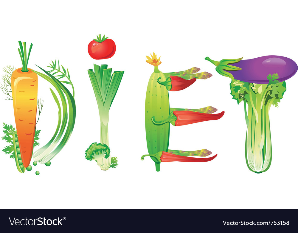 Word diet made of fresh vegetables vector | Price: 3 Credit (USD $3)