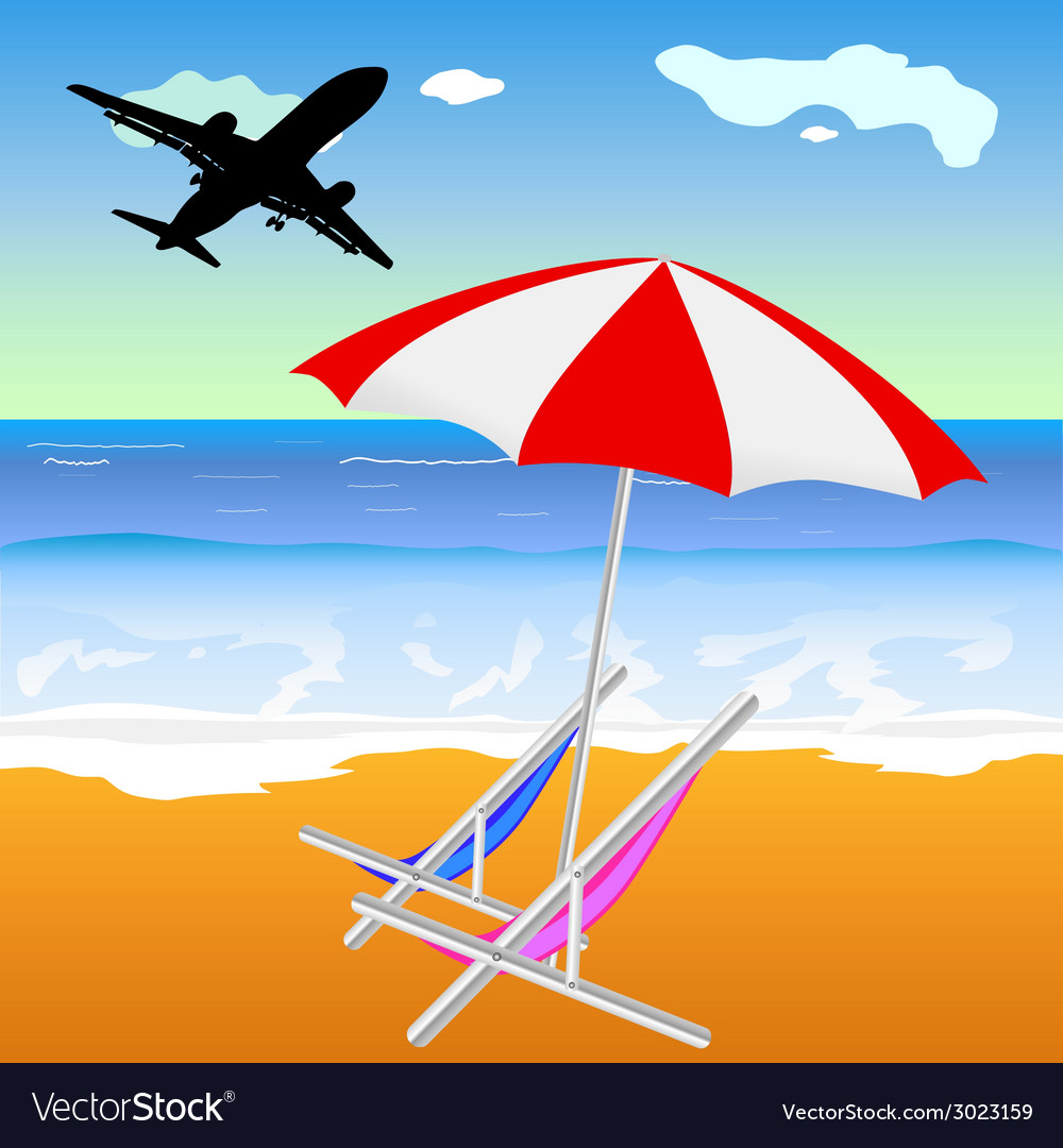 Beach with umbrella and chair and plane vector | Price: 1 Credit (USD $1)
