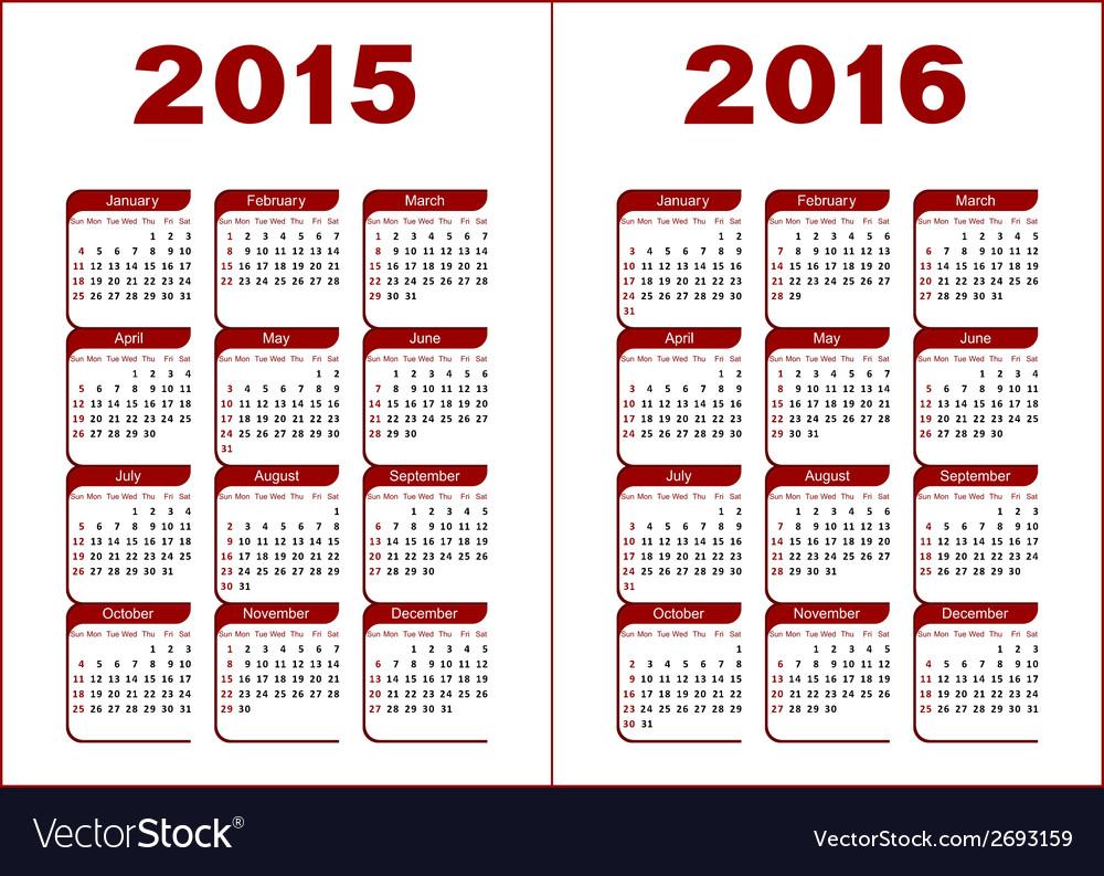 Calendar 2015 2016 vector | Price: 1 Credit (USD $1)