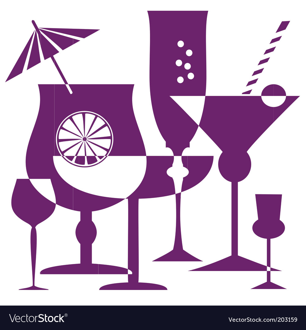 Coctail glasses silhouette vector | Price: 1 Credit (USD $1)